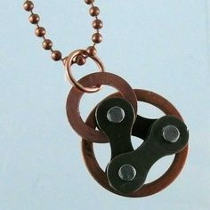bike jewelry bicycle chain double copper by WanderingJeweler, $23.00
