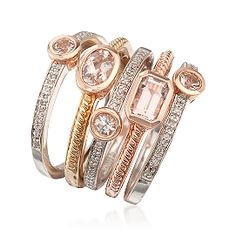 Ross-Simons - Set of Five Tri-Colored Rings With 1.10 ct. t.w. Morganite and .20 ct. t.w. Diamonds - #787083