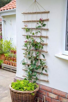 Garden 83792 To guide your climbing plants while decorating the walls, make a tr. - Garden 83792 To guide your climbing plants while decorating the walls, make a trellis with wooden stems. # honeysuckle Source by - Wooden Garden Gate, Wooden Trellis, Diy Trellis, Indoor Garden, Garden Art, Outdoor Gardens, Rustic Gardens, Garden Planters, Herb Garden