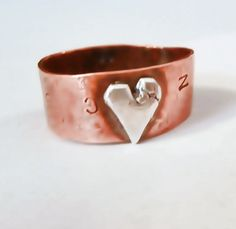 Rustic upcycled and repurposed Thumb Ring Copper by HisHeartMyArt