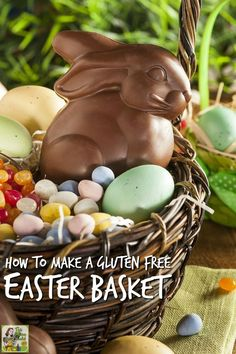 Tips on preparing a gluten free Easter basket. Includes a list of gluten free Easter candy and non-candy ideas for the Easter gift basket.