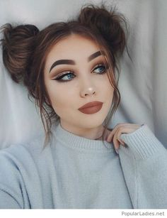 two-buns-makeup-and-a-sweater