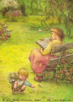 © Lisi MARTIN (Artist. Barcelona, Spain). More on the artist & her art, free wallpapers, etc at link. Mother reads on a garden bench as her small  child picks flowers ... [Do not remove caption. The law requires that you credit the artist. Pin/Link directly to artist's website. Artists need to eat too!] COPYRIGHT LAW: http://pinterest.com/pin/86975836525792650/  REAL LIFE:   http://pinterest.com/pin/86975836525987875/ The Golden Rule: http://pinterest.com/pin/86975836525355452/
