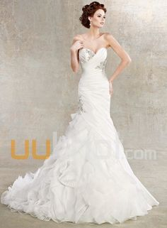 db761e13fbd0 A-Line Stunning Long Train Sweetheart Ruffle Beaded A-Line Backless Wedding  Dress Free Measurement