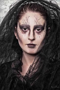 adrienne beacco photography , black , witch , forest , tulle , studio photography , studio , makeup , halloween , halloween makeup , photoshop , evil , dark , face , portrait ,