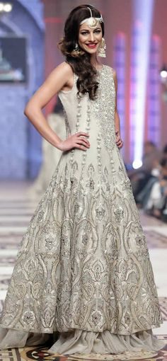 White and Silver Pakistani wedding dress #SaharAtif Telenor #BridalCoutureWeek 2014 The Sultanate Collection  #desi #pakistaniwedding