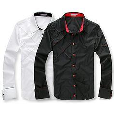 Lässig Slim Fit Stilvolle Langarm-Shirt der Männer – EUR € 5.78