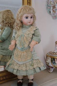 antique doll dress | ANTIQUE COUTURIER ERNESTINE JUMEAU DOLL DRESS | ~Dolls~