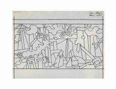 """Stuart Davis (1892-1964)  Study for """"Swing Landscape""""  signed and dated 'Stuart Davis/May 1937' (upper right)  ink on architect's tracing paper  16½ x 22½ in. (41.9 x 57.2 cm.)"""