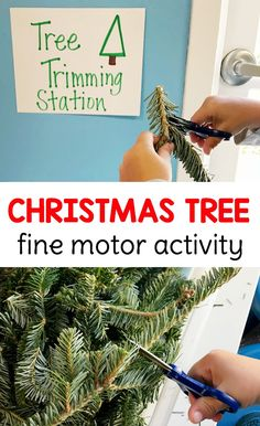 Christmas Tree Fine Motor Activity - This EXTREMELY fun, Christmas tree trimming, fine motor sensory bin is the perfect no-prep activity for preschoolers to practice scissor skills!