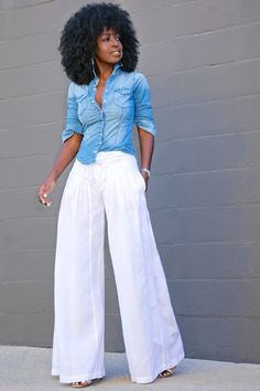 Style Pantry | Fitted Denim Shirt + Wide Leg Pants