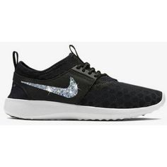 Blinged Out Nike Juvenate Womens Nike Juvenate Swarovski Nike Shoes... ($145) ❤ liked on Polyvore featuring shoes, grey, sneakers & athletic shoes, tie sneakers, women's shoes, sparkly shoes, gray evening shoes, grey shoes, tie shoes and cocktail shoes
