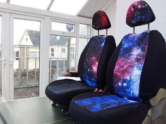 Galaxy print car front seat covers; space 1999 star wars milky way space galaxy star trek