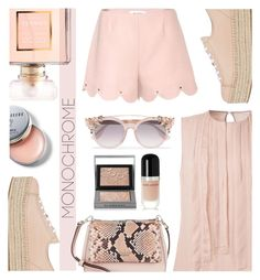 """Pretty Monochrome Pink"" by keepfashion92 ❤ liked on Polyvore featuring Miu Miu, Kate Spade, Chanel, Marc Jacobs, Burberry, Jason Wu, Valentino, Jimmy Choo and Bobbi Brown Cosmetics"