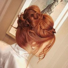 Pakistani Bridal Hairstyles, Bride Hairstyles, Vintage Hairstyles, Pretty Hairstyles, Pelo Color Cobre, Bridesmaid Hair, Prom Hair, Redkin Hair Color, Red Hair Brides