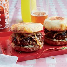 This outstanding burger has a layer of caramelized onions pressed into the patty, plus gooey melted Jack cheese.