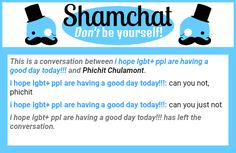 A conversation between Phichit Chulamont and i hope lgbt+ ppl are having a good day today!!!