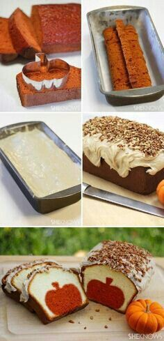 Surprise-Inside Cake Ideas (with pictures & recipes) Pumpkin pound cake with brown butter pecan icing.Pumpkin pound cake with brown butter pecan icing. Just Desserts, Delicious Desserts, Dessert Recipes, Yummy Food, Fall Desserts, Sweet Desserts, Pumpkin Recipes, Fall Recipes, Holiday Recipes