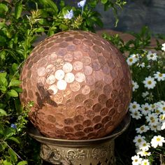 Repurpose Gazing Ball Penny Copper Mosaic Bowling Unbreakable garden art (Old bowling ball, painted, with pennies).