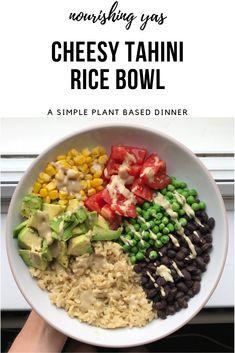 Vegan Cheesy Tahini Rice Bowl | Nourishing Yas - Simple Plant based Recipes #vegan #veganrecipes #vegancheese #plantbased #buddhabowl #glutenfree #healthyrecipes #simplerecipes #tahini #veganmains