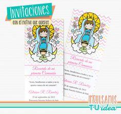 Comunión Nena - Estampita para imprimir Virgencita con angelito