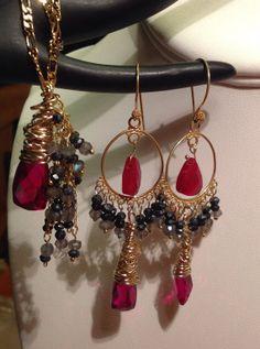 Ruby Necklacered quartzLabradorite Black Spinel. by JewelryByShari, $205.00