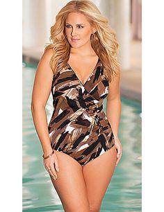 Penbrooke Brown Studio Art Surplice  Swimsuit sonsi.com