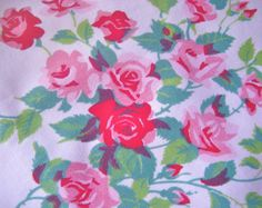 Wilendur Princess Roses Pink and Red Cotton Fabric 16X16 Inches