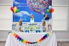 sweet table, pixar up theme table, pixar up theme backdrop, August Birthday, Baby Boy 1st Birthday, Disney Birthday, 3rd Birthday Parties, Up Pixar, Dessert Bar Wedding, Dessert Table, Graduation Theme, Up Theme