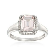 1.45 Carat Morganite and .14 ct. t.w. Diamond Ring in Sterling Silver. I'm in love with this!