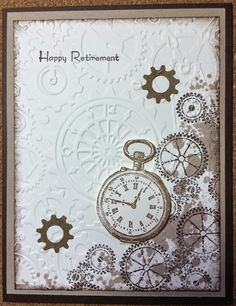 Kathie's Cards. Retirement with cogs and clock.