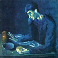 Desayuno de un hombre ciego, 1903, Pablo Picasso, periodo azul, España.