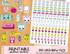 Kawaii Diet Fitness Workout Scale Stickers set – Printable Planner stickers, Print&Cut stickers for Happy Planner, Filofax, Erin Condren… – Pins Free Planner, Happy Planner, Planner Ideas, Printable Planner Stickers, Free Printables, Journal Stickers, Kawaii Planner, Types Of Planners, Kawaii Stickers