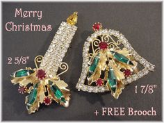 """Christmas - 2 5/8"""" Candle & Bell Green Red Crystal Rhinestone Brooch Set + FREE Tree Rhinestone Pin - Holiday Party Jewelry FREE SHIPPING by FindMeTreasures on Etsy"""