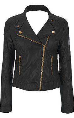 Black rivet white leather jacket