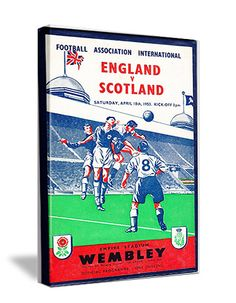 FUTBOL ART made from authentic vintage futbol tickets. We have the best football art on canvas. Made from authentic tickets and programmes like this 1953 England vs. Scotland Football Programme.