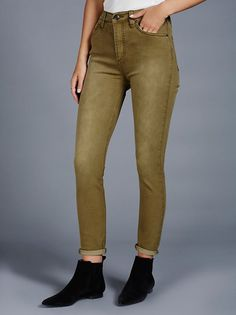 FP FREE PEOPLE High-Rise Cropped Roller Skinny (Military Green)