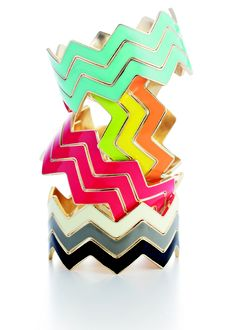 Colorful, Stackable Chevron Bracelets are the best accessory for summer!
