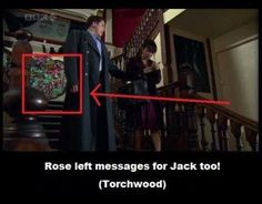 """I sometimes have the transcripts open in my phone just in case I can't understand what someone says, and I saw the words """"Bad Wolf"""" in a passing glance and I was like, """"AAAAHHH MUST FIND!"""" I replayed this bit until I saw it. Crossover, Captain Jack Harkness, John Barrowman, Don't Blink, Torchwood, Geronimo, Bad Wolf, Blue Box, David Tennant"""