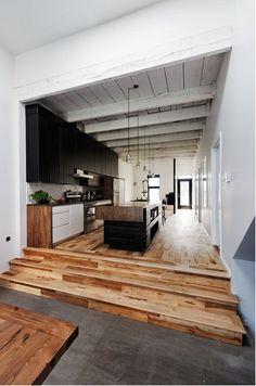 cocina longitudinal suelo de madera