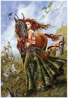 "Macha-Horse Goddess, a part of the trinity that make up the Morrigan.  Her aspects are fertility, abundance, and prophesy.  She is the Warrior Queen aspect for conquering tasks and also for seeking justice, especially in crimes against women. Her totem is the horse. (Stephanie Woodfield, ""Celtic Lore & Spellcraft of the Dark Goddess, pp. 53-60)"