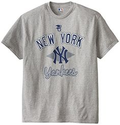 MLB New York Yankees Men's 58T Tee, Steel Heather, Large