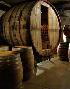 Rare Wine Barrel Cave - source for used wine barrels for my future Tiny House:  wine barrel roof, wine barrel bathtub, wine barrel mermaid water tank!