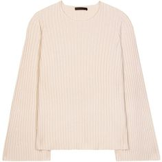 The Row Pleata Cashmere and Silk Sweater (106.445 RUB) ❤ liked on Polyvore featuring tops, sweaters, white, white sweater, silk cashmere sweater, white top and the row sweater