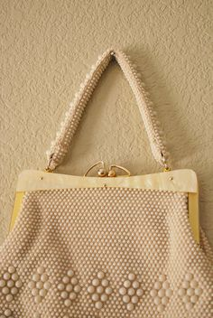 Vintage Purse 60s Faux Pearl Beaded Cream by WaistedVintage1