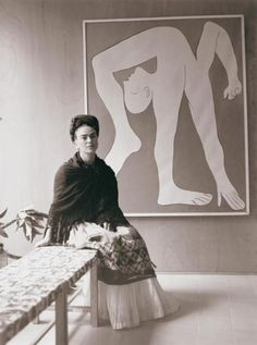 Frida Kahlo at the Pablo Picasso exhibition.