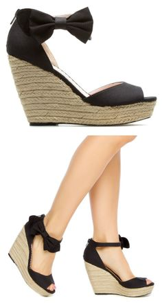 Bow Wedges SOOO cute i wonder if i can find them at payless? Wedge Shoes, Shoes Sandals, Heels, Cute Wedges, Black Wedges, Cute Shoes, Me Too Shoes, All About Shoes, Crazy Shoes