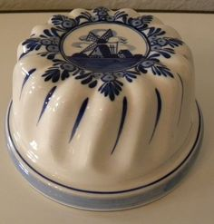 Vintage Delft Blue Windmill Porcelain Cake Jello Form Mold Signed Hand Painted | eBay