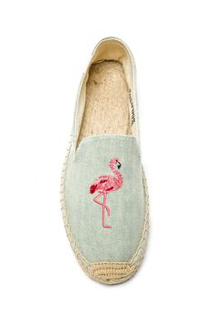 Soludos Flamingo Embroidered Espadrille in Light Chambray | REVOLVE