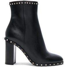 Valentino Leather Rockstud Trim Booties (10,090 GTQ) ❤ liked on Polyvore featuring shoes, boots, ankle booties, ankle boots, short high heel boots, high heel bootie, high heel ankle booties and bootie boots